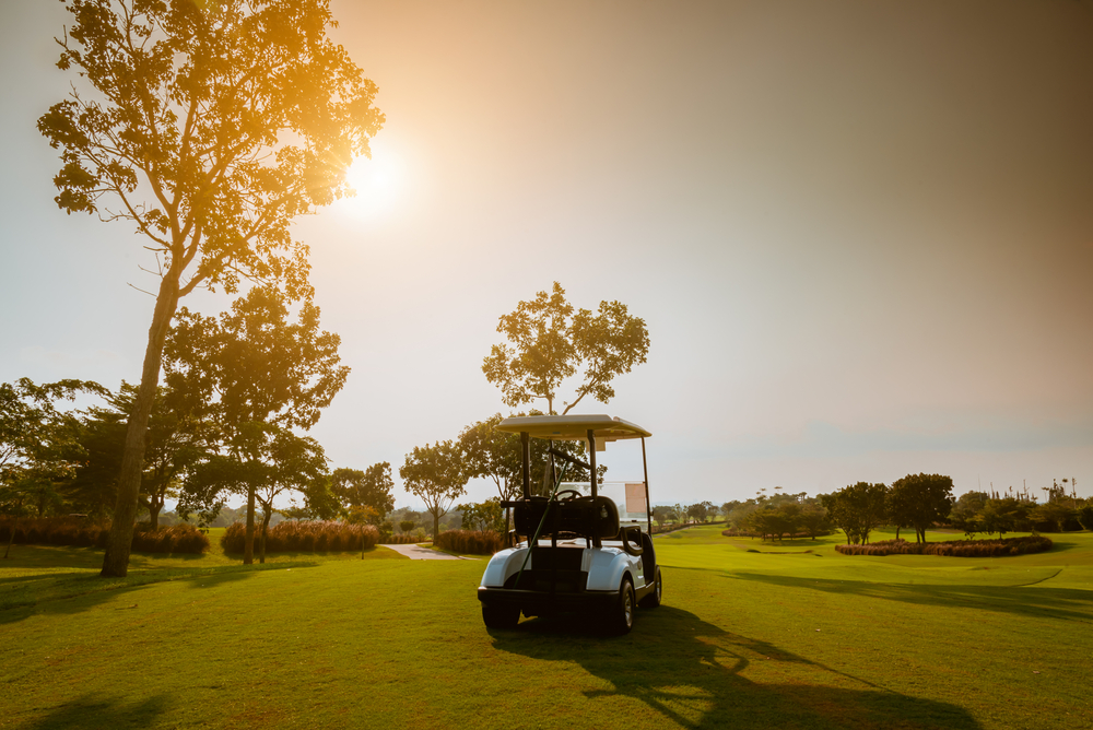Golf,Cart,On,Golf,Course,,Parking,On,Fairway.,Equipment,And